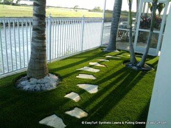Fake grass with flagstone stepping stones
