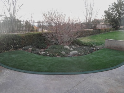 Artificial grass installation over concrete