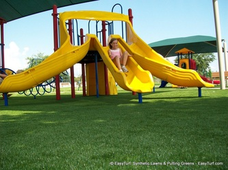 Kid friendly fake grass playground