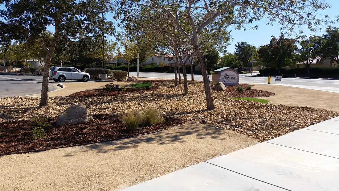 Drought tolerant landscape at The Highlands Church in Palmdale