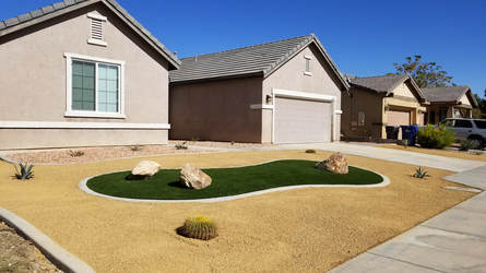 Artificial Grass And Rock Landscape