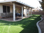 Patio cover and synthetic lawn