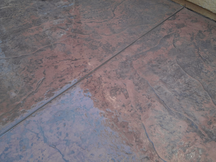 Dark stamped concrete